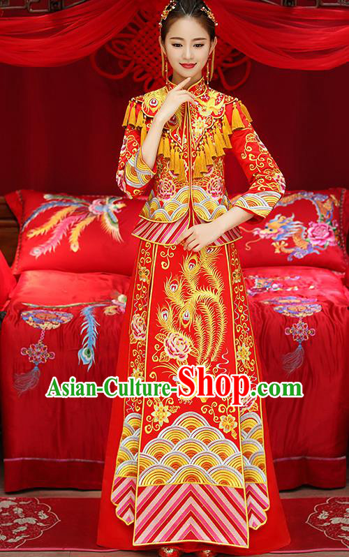 Chinese Traditional Red Toast Cheongsam Ancient Embroidered Phoenix Bottom Drawer Xiuhe Suit Wedding Dress for Women
