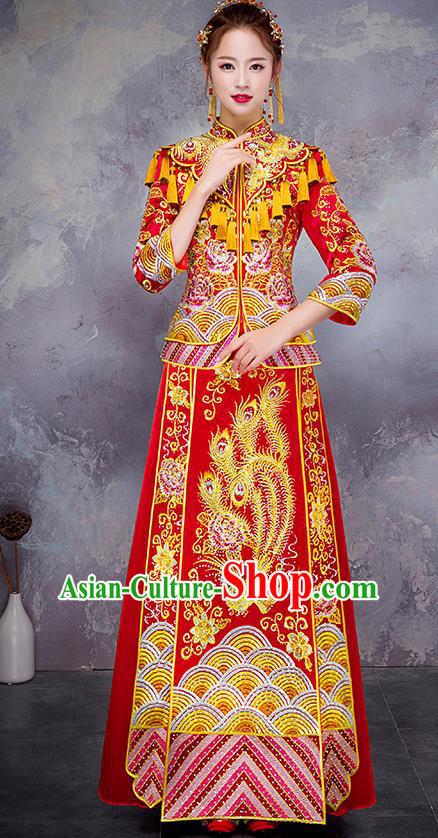 Chinese Traditional Red Diamante Toast Cheongsam Ancient Embroidered Phoenix Bottom Drawer Xiuhe Suit Wedding Dress for Women
