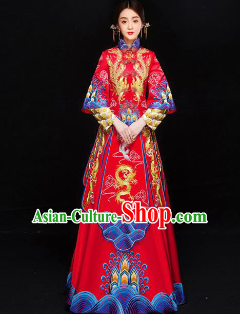 Chinese Traditional Xiuhe Suit Embroidered Longfeng Flown Ancient Bottom Drawer Wedding Dress for Women