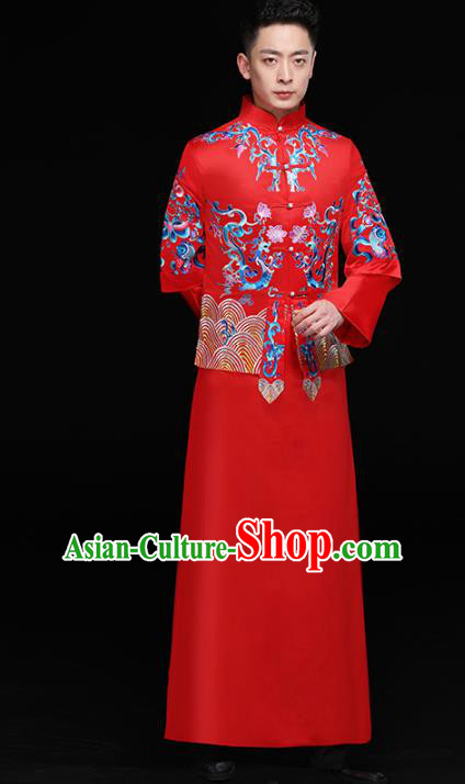 Chinese Traditional Bridegroom Embroidered Dragons Costume Ancient Tang Suit Red Clothing for Men