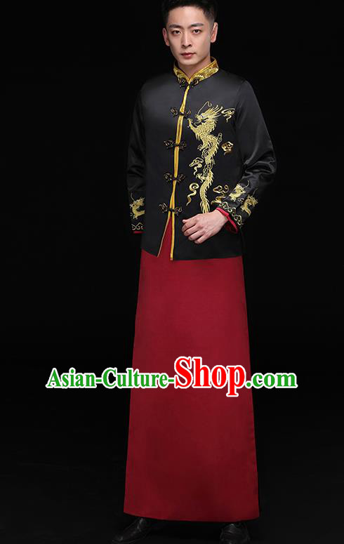 Chinese Traditional Bridegroom Embroidered Golden Dragons Costume Ancient Tang Suit Black Clothing for Men