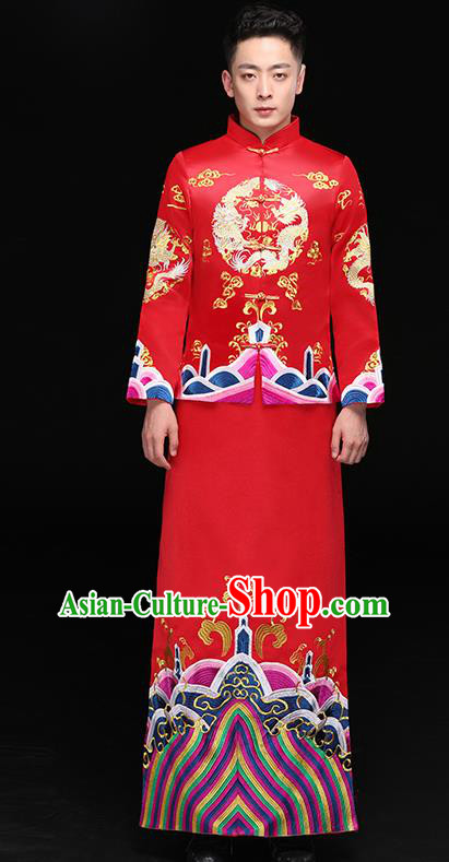 Chinese Traditional Bridegroom Xiuhe Suit Costume Ancient Tang Suit Embroidered Clothing for Men