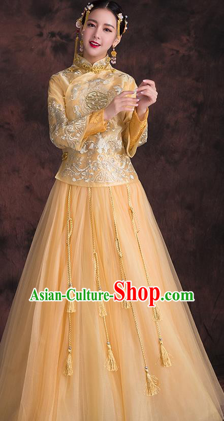 Chinese Traditional Xiuhe Suit Embroidered Yellow Longfeng Flown Ancient Bottom Drawer Wedding Dress for Women