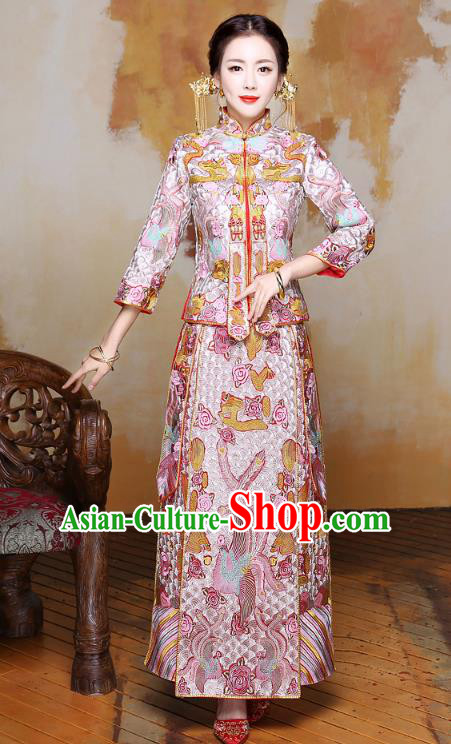 Chinese Traditional Xiuhe Suit Embroidered Phoenix Pink Longfeng Flown Ancient Wedding Dress for Women