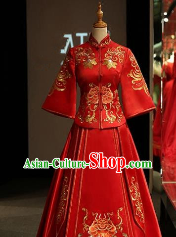Chinese Traditional Bride Xiuhe Suit Ancient Longfeng Flown Embroidered Peony Wedding Cheongsam Dress for Women