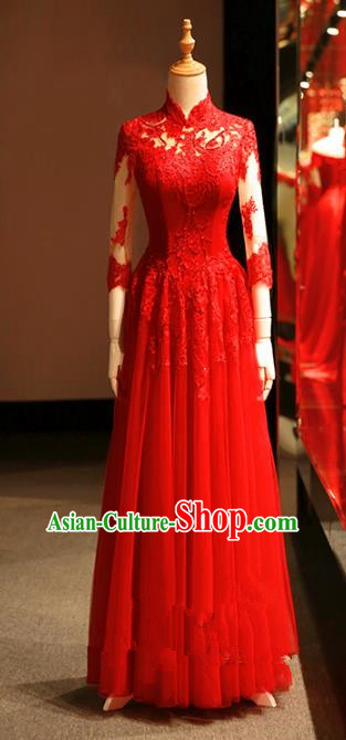 Chinese Traditional Bride Embroidered Lace Cheongsam Ancient Wedding Longfeng Flown Dress for Women