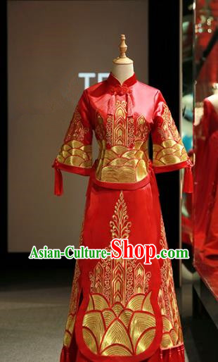Chinese Traditional Bride Embroidered Cheongsam Red Xiuhe Suit Ancient Wedding Longfeng Flown Dress for Women