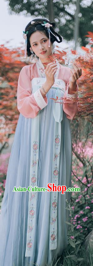 Chinese Ancient Palace Lady Hanfu Dress Tang Dynasty Imperial Concubine Embroidered Clothing for Women