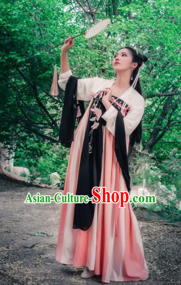Chinese Ancient Princess Embroidered Hanfu Dress Tang Dynasty Palace Lady Clothing for Women