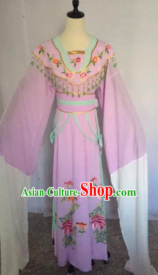 Chinese Traditional Beijing Opera Nobility Lady Lilac Dress Peking Opera Diva Costumes for Adults