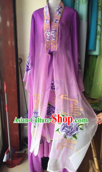 Chinese Traditional Peking Opera Nobility Lady Purple Dress Beijing Opera Diva Costumes for Adults