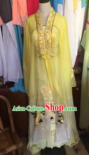 Chinese Traditional Peking Opera Nobility Lady Yellow Dress Beijing Opera Diva Costumes for Adults