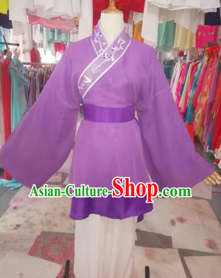 Chinese Traditional Beijing Opera Livehand Purple Clothing Peking Opera Costume for Adults