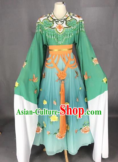 Chinese Traditional Beijing Opera Palace Princess Green Dress Peking Opera Diva Costumes for Adults