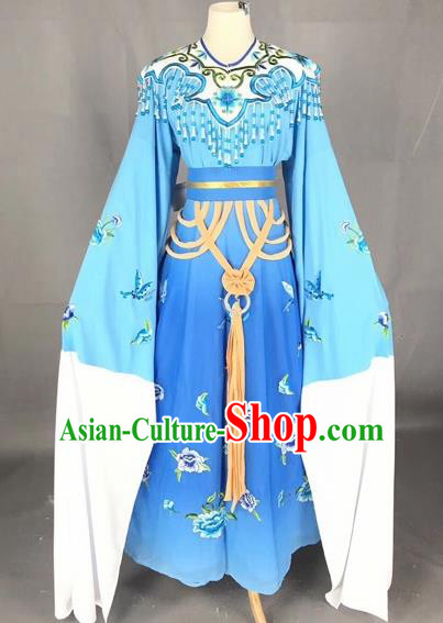Chinese Traditional Beijing Opera Palace Princess Blue Dress Peking Opera Diva Costumes for Adults