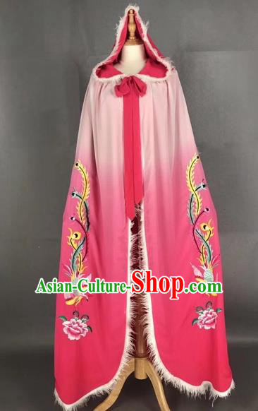 Chinese Traditional Peking Opera Princess Pink Cloak Beijing Opera Diva Embroidered Phoenix Costumes for Adults