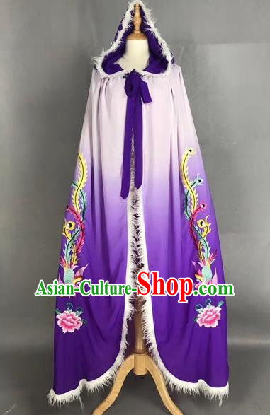 Chinese Traditional Peking Opera Princess Purple Cloak Beijing Opera Diva Embroidered Phoenix Costumes for Adults