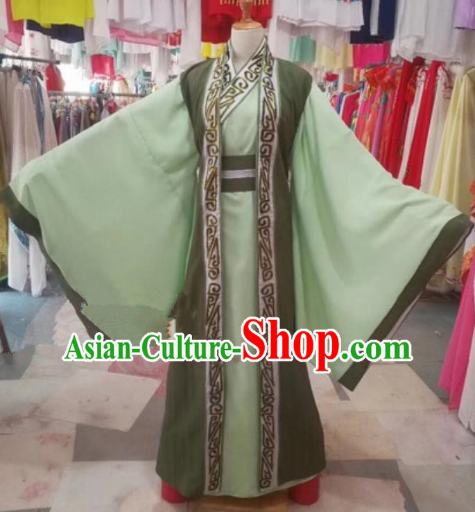 Chinese Traditional Beijing Opera Nobility Childe Green Clothing Peking Opera Costume for Adults