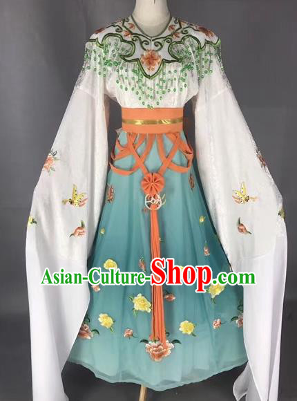 Chinese Peking Opera Diva Blue Dress Traditional Beijing Opera Rich Lady Embroidered Costumes for Adults