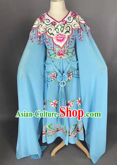 Traditional Chinese Peking Opera Costume Beijing Opera Actress Blue Dress for Kids