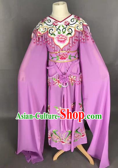 Traditional Chinese Peking Opera Costume Beijing Opera Actress Purple Dress for Kids