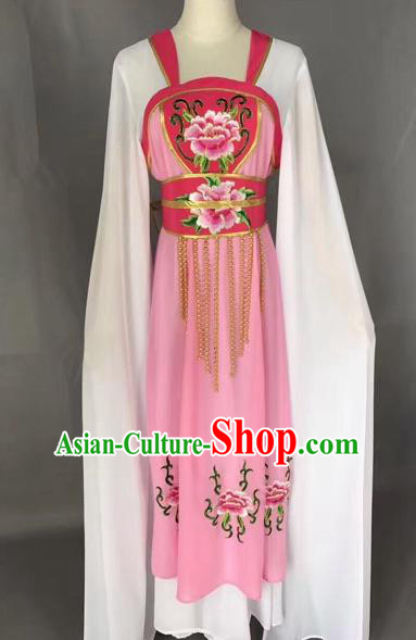 Traditional Chinese Peking Opera Maidservants Costume Beijing Opera Fairy Pink Dress for Adults