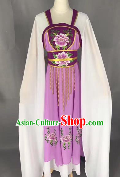 Traditional Chinese Peking Opera Maidservants Costume Beijing Opera Fairy Purple Dress for Adults