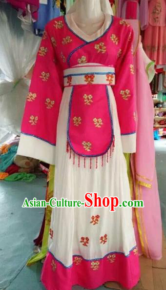 Traditional Chinese Peking Opera Mui Tsai Rosy Costume Beijing Opera Maidservants Dress for Adults