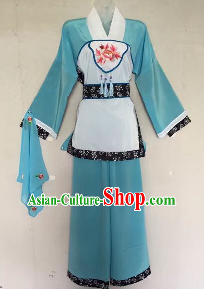 Traditional Chinese Peking Opera Servant-Girl Green Costume Beijing Opera Maidservant Dress for Adults