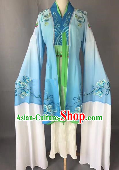 Chinese Ancient Peking Opera Palace Lady Blue Dress Traditional Beijing Opera Diva Costumes for Adults