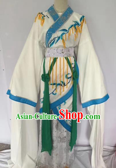 Chinese Ancient Peking Opera Princess Embroidered White Dress Traditional Beijing Opera Diva Costumes for Adults