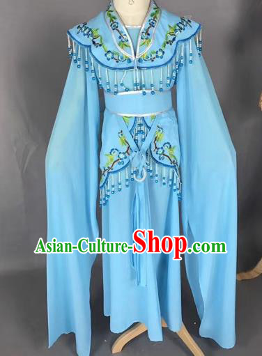 Chinese Ancient Peking Opera Children Blue Dress Traditional Beijing Opera Diva Costumes for Kids