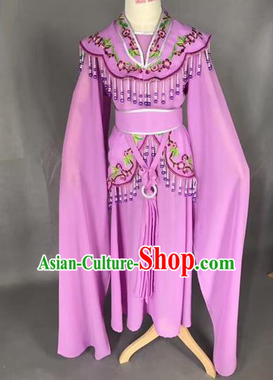 Chinese Ancient Peking Opera Children Purple Dress Traditional Beijing Opera Diva Costumes for Kids