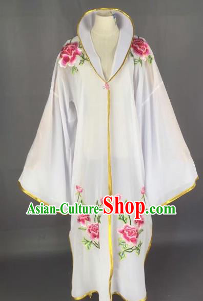 Traditional Chinese Peking Opera Diva Costume Beijing Opera Embroidered White Cloak for Adults