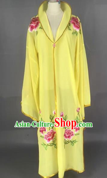 Traditional Chinese Peking Opera Diva Costume Beijing Opera Embroidered Yellow Cloak for Adults