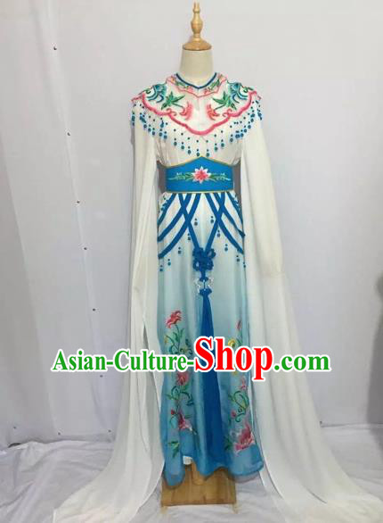 Traditional Chinese Peking Opera Rich Lady Costume Beijing Opera Diva Fairy Blue Dress for Adults