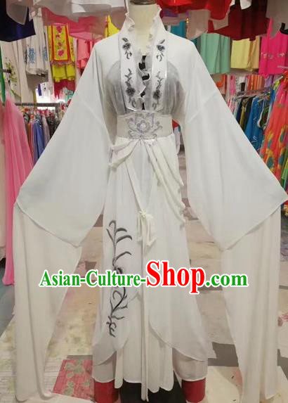 Traditional Chinese Peking Opera Princess Fairy Costume Beijing Opera Diva White Dress for Adults