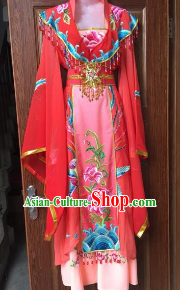Chinese Shaoxing Opera Palace Queen Red Dress Traditional Beijing Opera Diva Costume for Adults