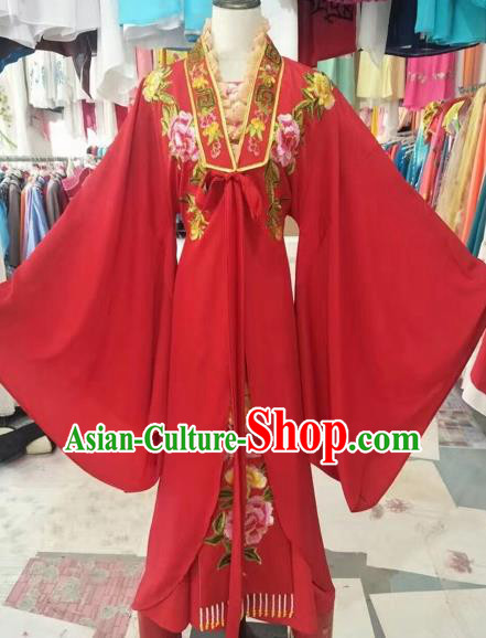 Chinese Shaoxing Opera Bride Embroidered Red Dress Traditional Beijing Opera Diva Costume for Adults