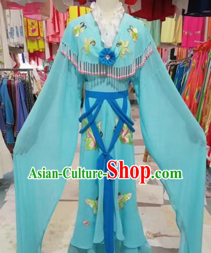 Chinese Beijing Opera Nobility Lady Dress Ancient Princess Blue Costume for Adults