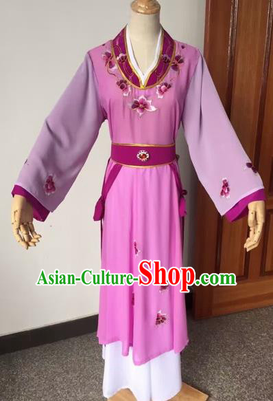 Chinese Beijing Opera Young Lady Purple Dress Ancient Maidservants Costume for Adults