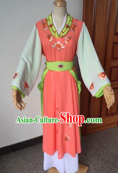 Chinese Beijing Opera Young Lady Orange Dress Ancient Maidservants Costume for Adults