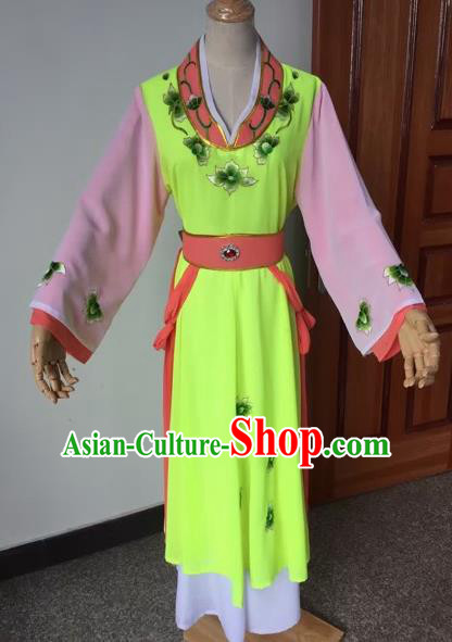 Chinese Beijing Opera Young Lady Grass Green Dress Ancient Maidservants Costume for Adults