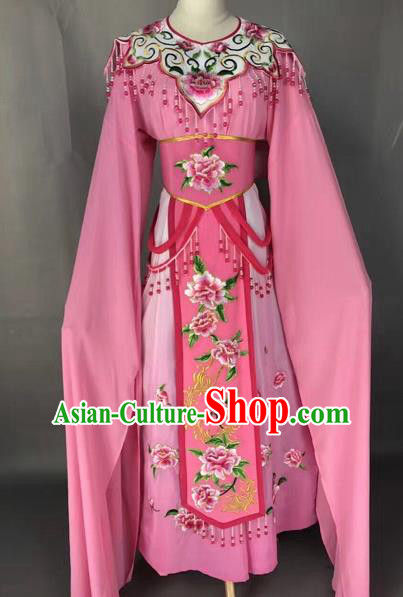Chinese Shaoxing Opera Princess Pink Embroidered Dress Traditional Beijing Opera Diva Costume for Adults