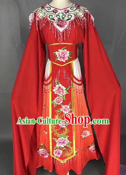 Chinese Shaoxing Opera Princess Red Embroidered Dress Traditional Beijing Opera Diva Costume for Adults