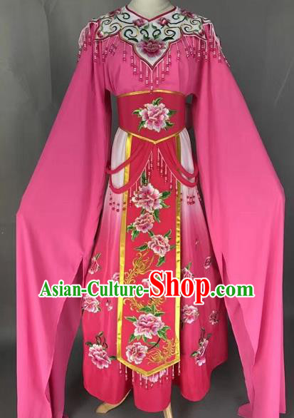 Chinese Shaoxing Opera Princess Rosy Embroidered Dress Traditional Beijing Opera Diva Costume for Adults