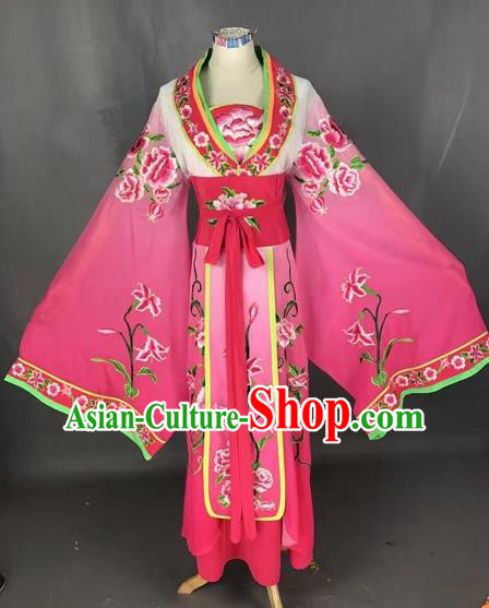 Chinese Traditional Peking Opera Diva Rosy Embroidered Dress Ancient Imperial Consort Costume for Adults