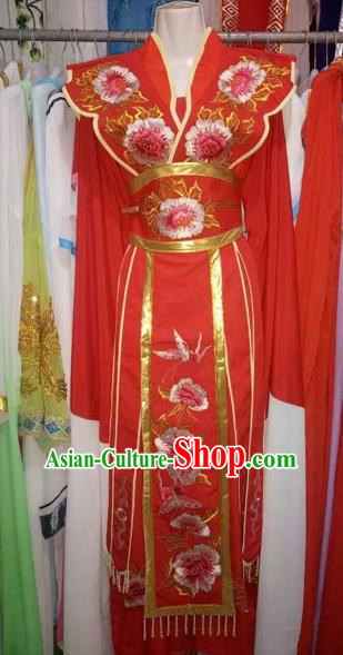 Chinese Traditional Peking Opera Actress Red Dress Ancient Princess Embroidered Costume for Adults