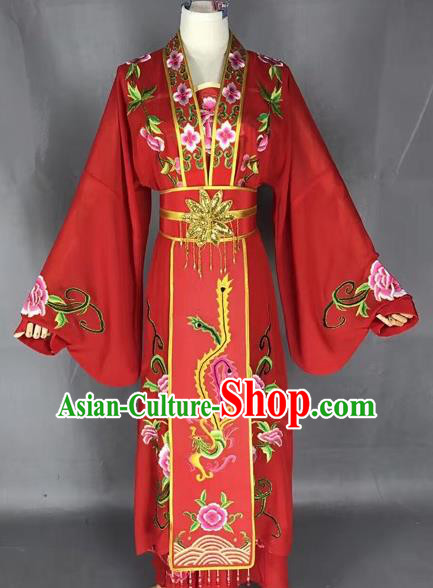 Chinese Traditional Peking Opera Diva Red Dress Ancient Princess Embroidered Costume for Adults
