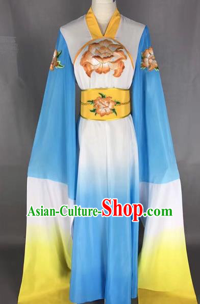 Chinese Traditional Peking Opera Water Sleeve Blue Dress Ancient Princess Embroidered Costume for Adults